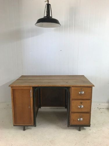 SOLD - Vintage French School Teacher Desk - a04